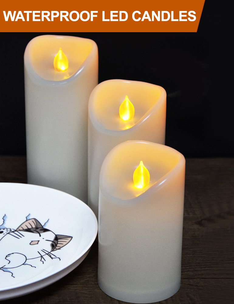 HOME MOST Set of 3 LED Pillar Candles Battery Operated (IVORY, 5''/6''/7'' Tall, Oblique Edge)- Flameless Candles Timer Outdoor Candles Waterproof - Electric Candles Battery Operated Plastic Candles Bulk by HOME MOST (Image #1)