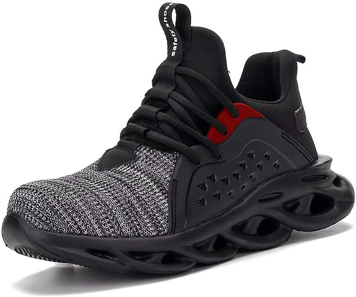 Calzado de Seguridad Hombre S3 Zapatos Protectores Mujer Zapato Trabajo Antideslizante Transpirable Ligeras Zapatos de Industria Unisex: Amazon.es: Zapatos y complementos