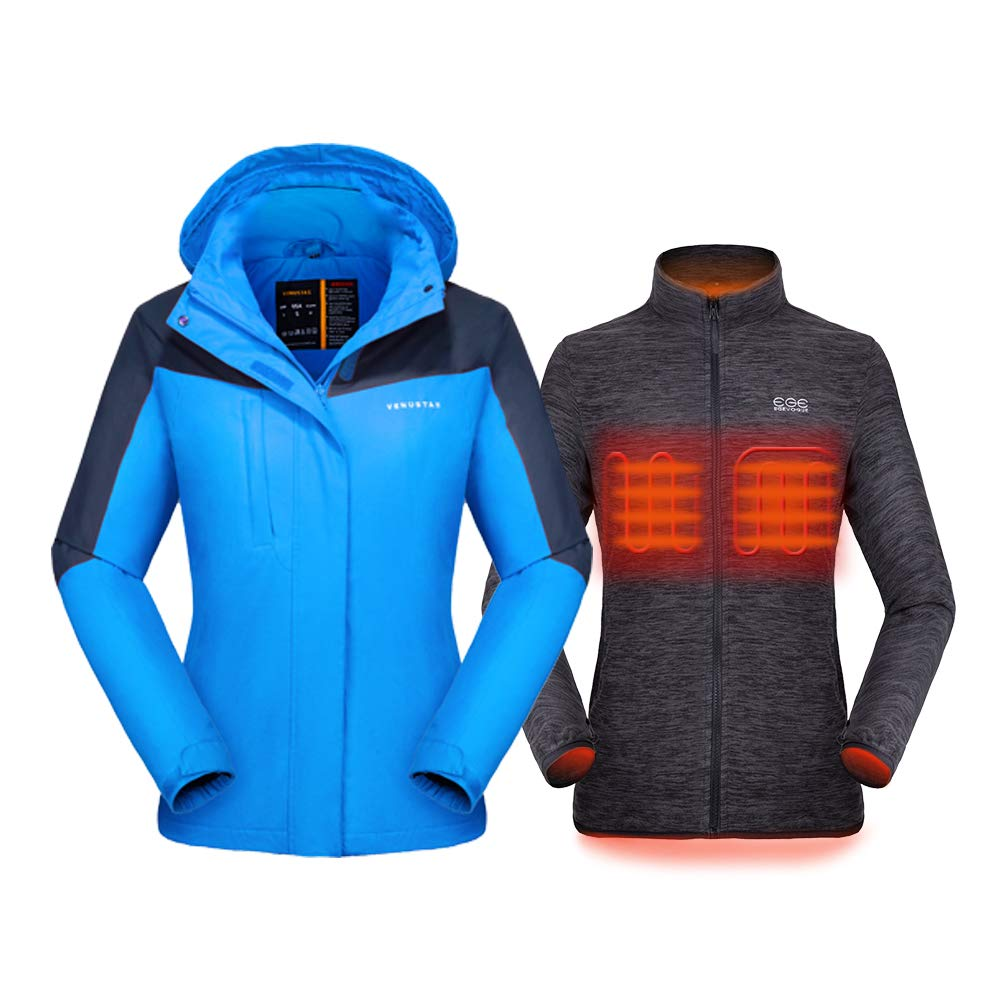 Venustas [2019 New Women's 3-in-1 Heated Jacket with Battery Pack, Ski Jacket Winter Jacket with Removable Hood Waterproof