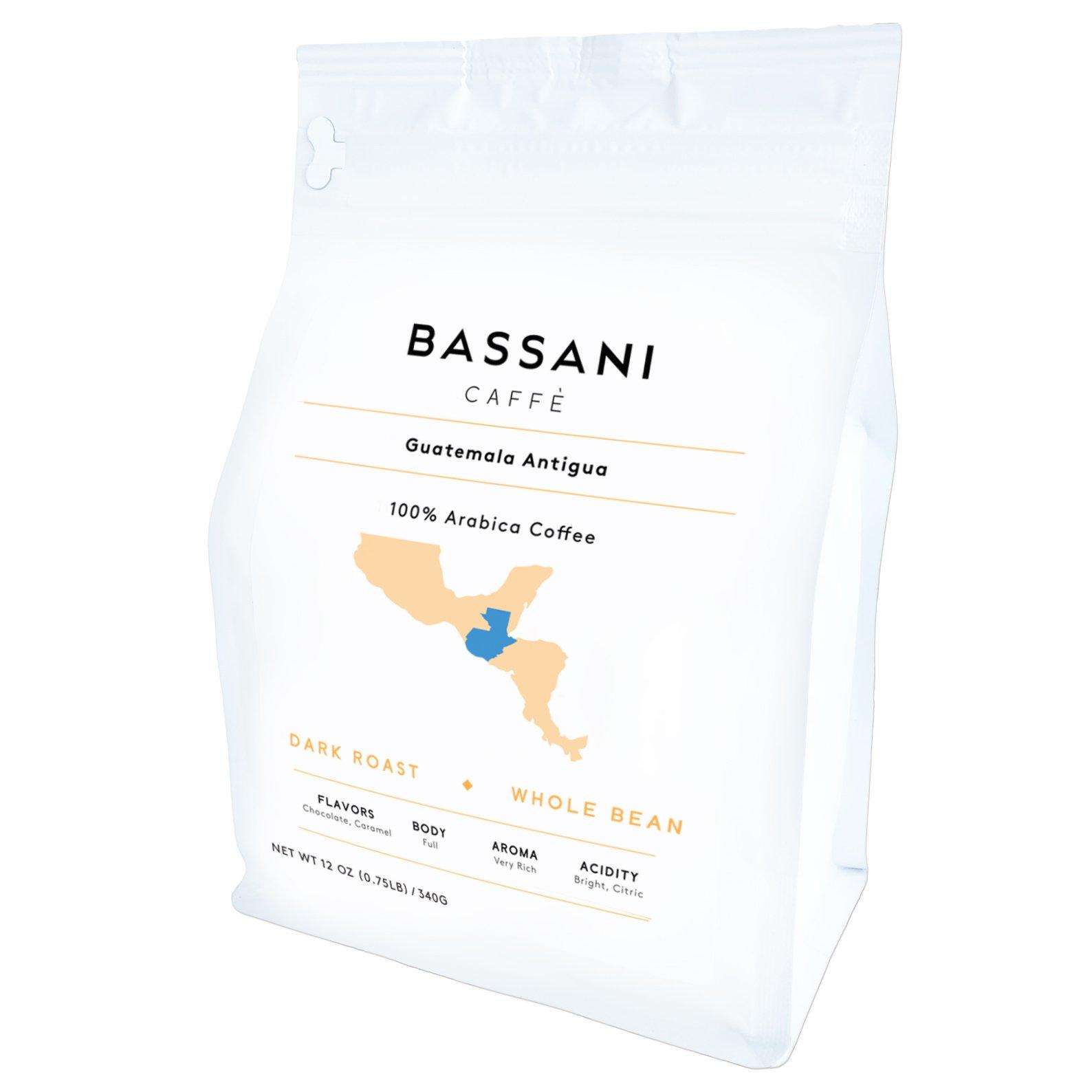 Bassani Caffè | Dark Roast 100% Arabica Coffee | 0.75 Pound (12 oz) Bag | Single Origin (Guatemala)