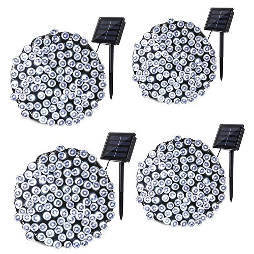 Qedertek 4 Pack Solar String Lights, 72ft 200 LED Solar Lights Outdoor with 8 Lighting Modes Waterproof for Home, Patio, Lawn, Garden, Christmas, Wedding, Party and Holiday Decorations(Cool White)