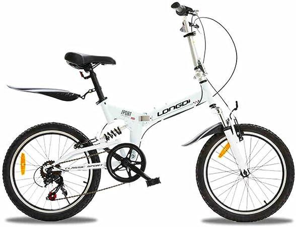 XQ- Pliegue Bicicleta 20 Pulgadas Velocidad Variable Suspensión Luz (Color : Blanco) : Amazon.es: Hogar