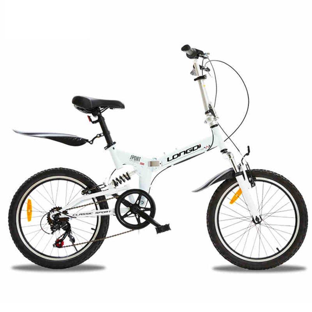 XQ 折り畳み自転車20インチ可変速度サスペンションライト 子ども用自転車 ( 色 : 白 ) B07CK5ZN7X白