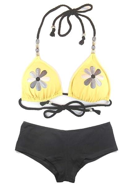 5a87cc406578d Women s 2-Piece Floral Burst Hawaiian Beaded Hipster Boyshort Beachwear Swimsuit  Set Yellow Combo (