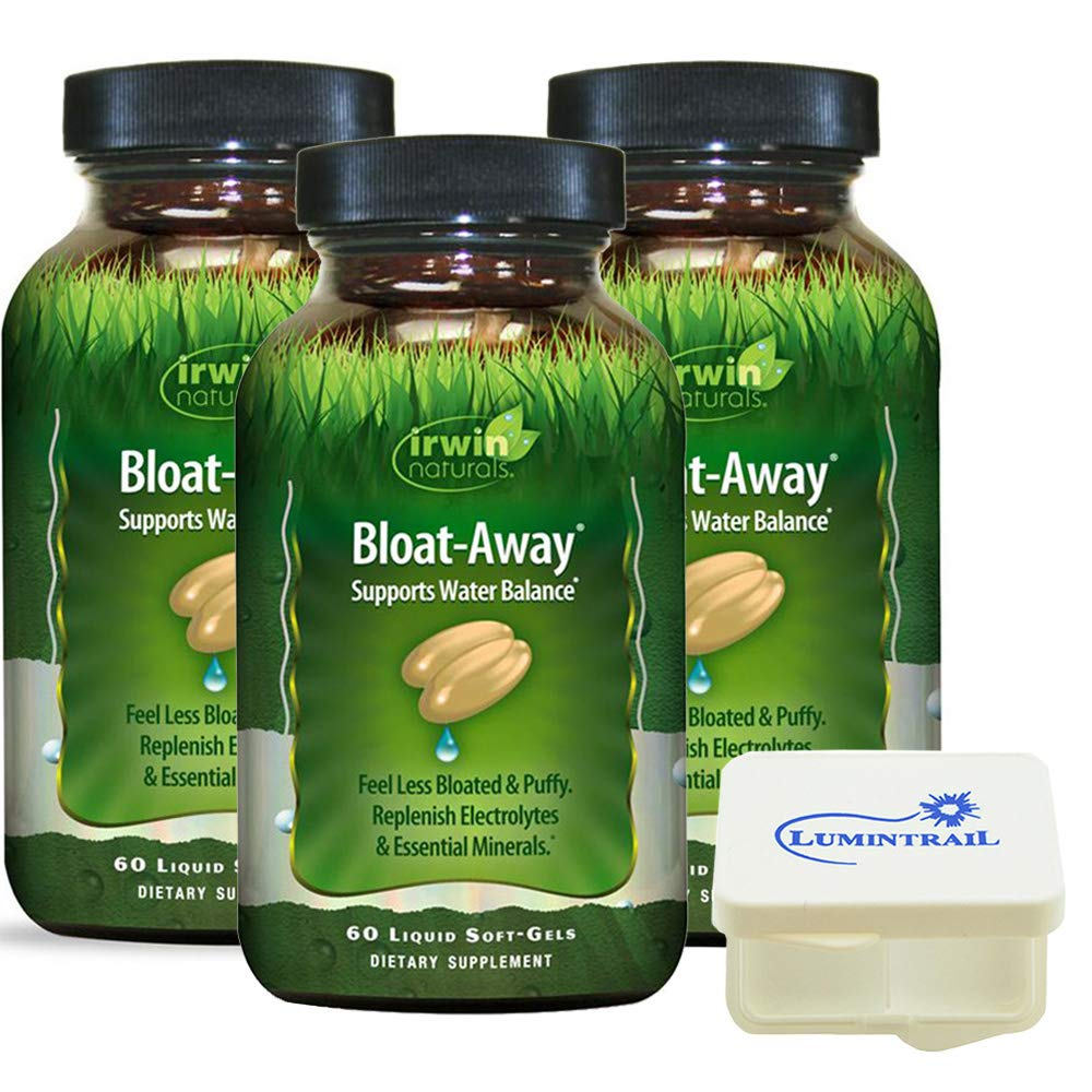 Irwin Naturals Bloat-Away Relief Water Balance Support Replenish Electrolytes & Essential Minerals - 60 (180 Total) Soft-Gels - 3 Pack Bundle with a Lumintrail Pill Case