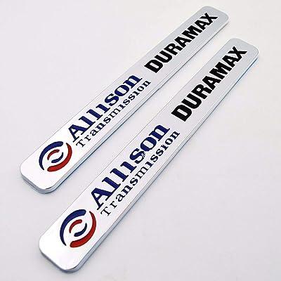 2x Allison Transmission Duramax Hood Emblem 3D Nameplate Badge Letter Replacement for GM Chevrolet Silverado ((Blue/Black/Chrome)): Automotive