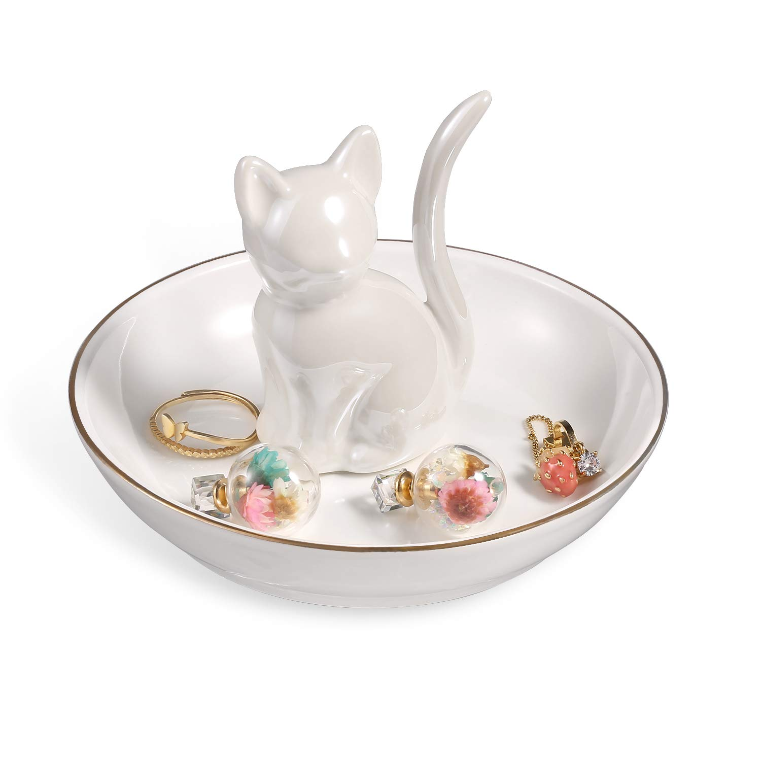 ROSA ROSE Cat Ring Holder Trinket Tray Ceramic Jewelry Dish Porcelain Home Decor Pearl White
