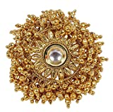 MUCH-MORE Indian Traditional Style Amazing Gold Tone Polki Finger Ring Partywear Jewelry (671)