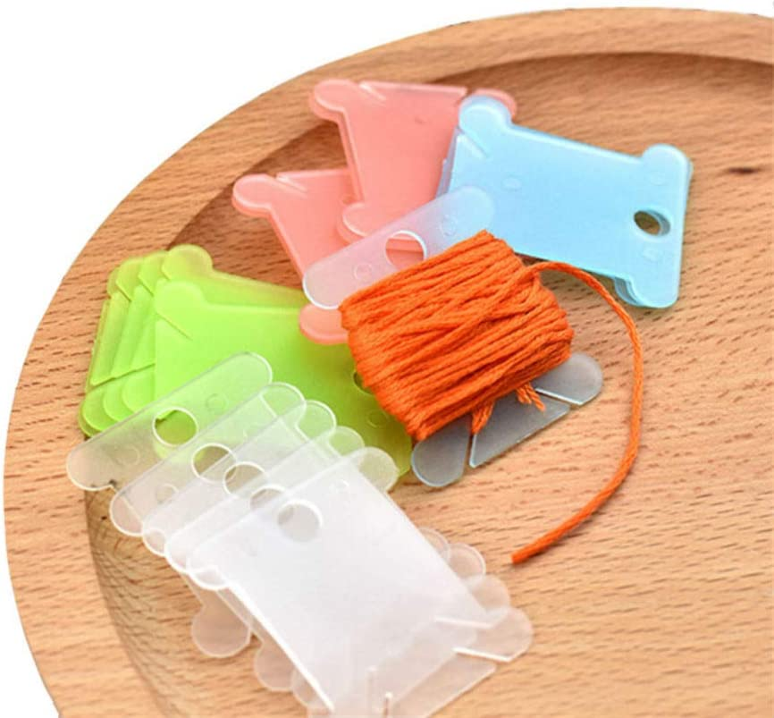 AKOAK 100 Pieces Assorted Color Plastic Sewing Thread Winding Plate Board Card Cross Stitch Embroidery Floss Craft Thread Bobbins Organizer