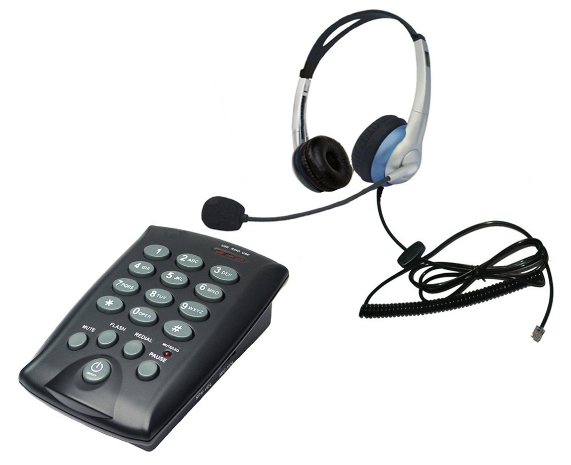 Voistek Call center Binaural headset telephone with keypad Dialpad with mute redial flash button (K20CHT800)