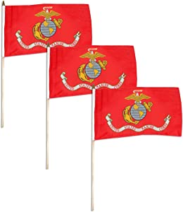 "Marine Corps Flag 12"" x 18"" Mounted on 24"" Wooden Stick (3)"