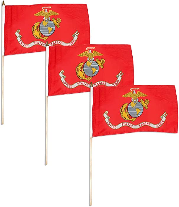 """Marine Corps Flag 12"""" x 18"""" Mounted on 24"""" Wooden Stick (3)"""