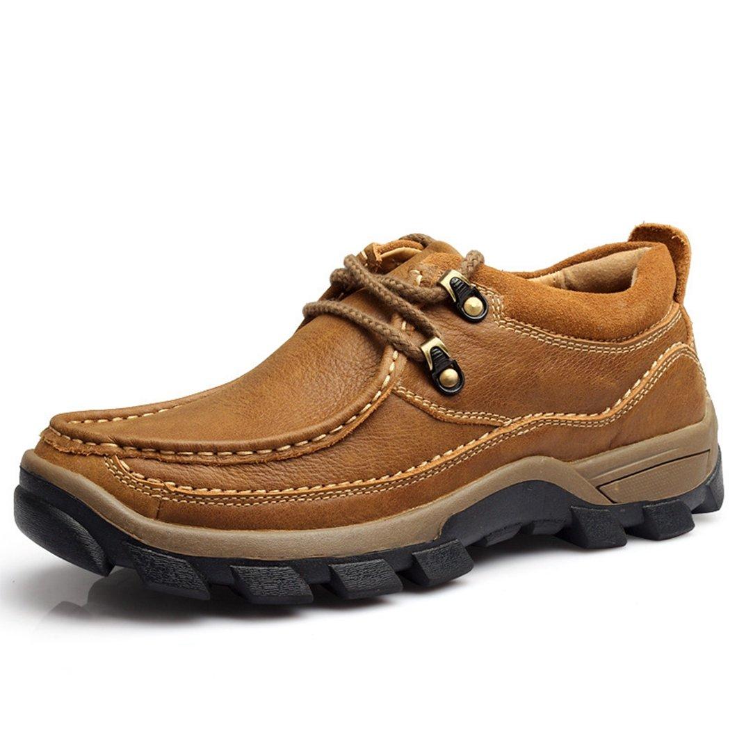 リョウピンカジュアルシューズ メンズ ブラウン カーキ レザー レースアップ アウトドア 厚底 ワークシューズ 革靴 通勤 紳士靴 B078N4TPJ3 24.0 cm カーキ