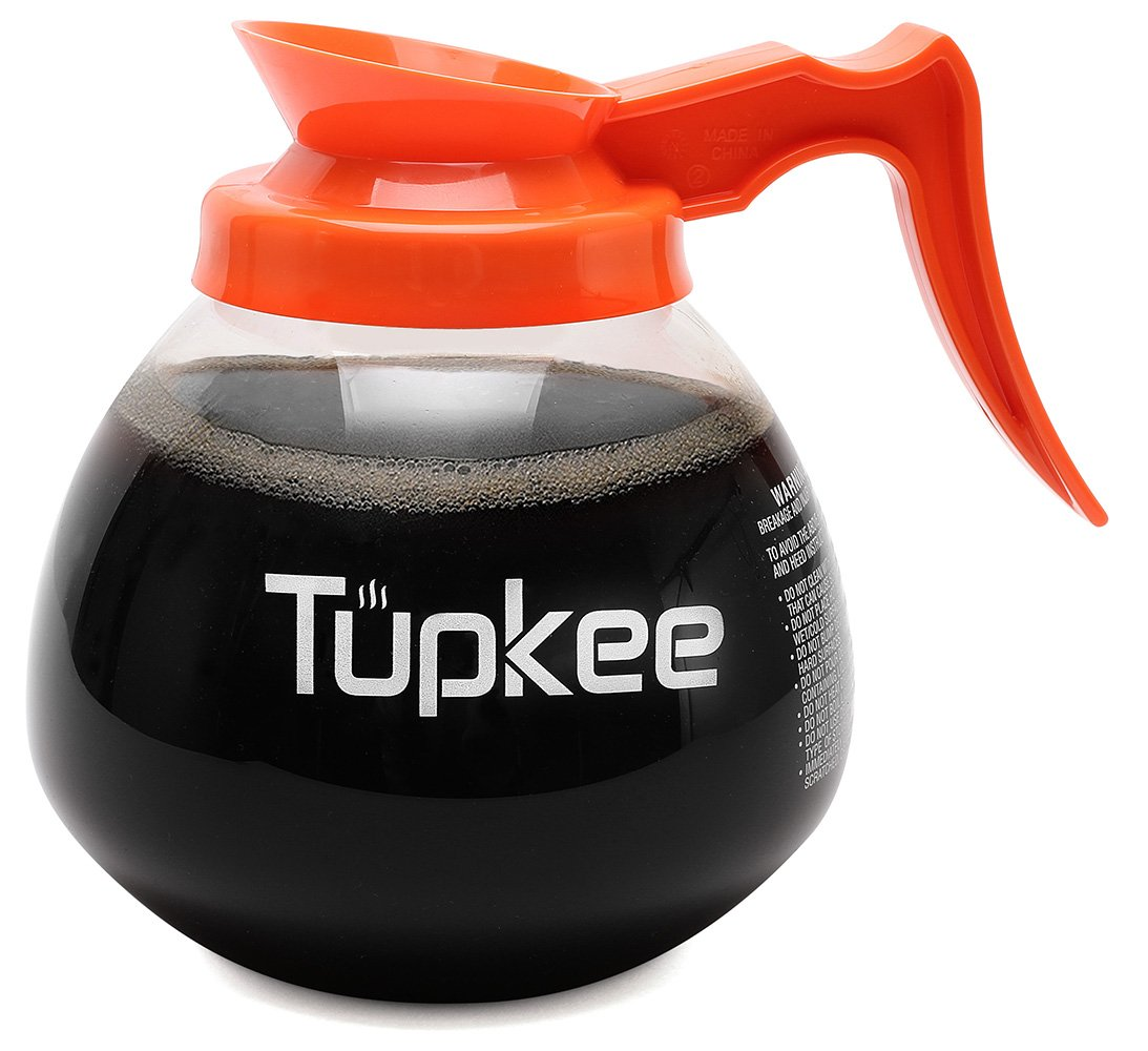 Tupkee Commercial Coffee Pot Replacement - Restaurant Glass Coffee Pots 12 Cup Decanter Carafe - 64 oz. 12-Cup, Orange Handle/Decaf