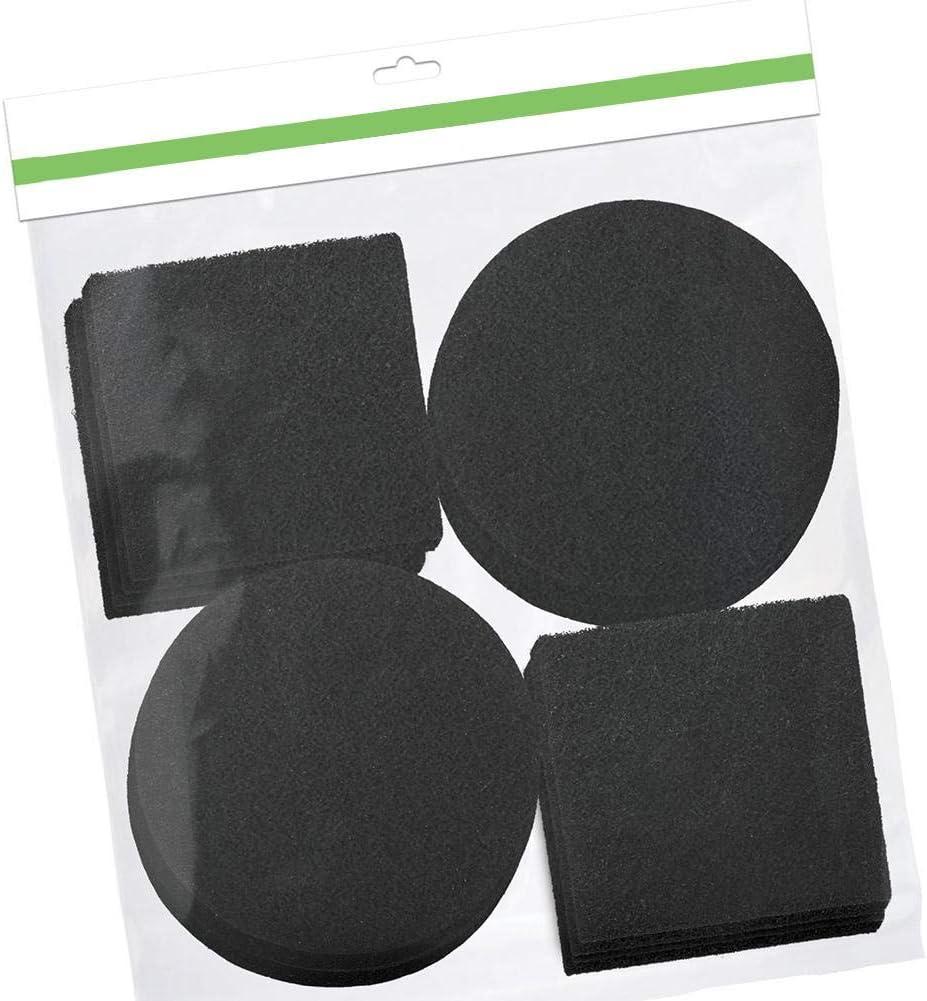 Noir Createjia Filtres /À Bacs /À Compost Filtre /À Compost Rond Carr/é 12 Pi/èces en Coton Charbon Actif D/éodorant 6 Rondes Et 6 Carr/ées