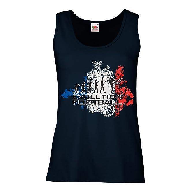 lepni.me Camisetas sin Mangas para Mujer Fútbol de Evolución - Francia, Campeonato de Rusia 2018, Copa del Mundo - Camisa del admirador de Equipo del Fútbol ...