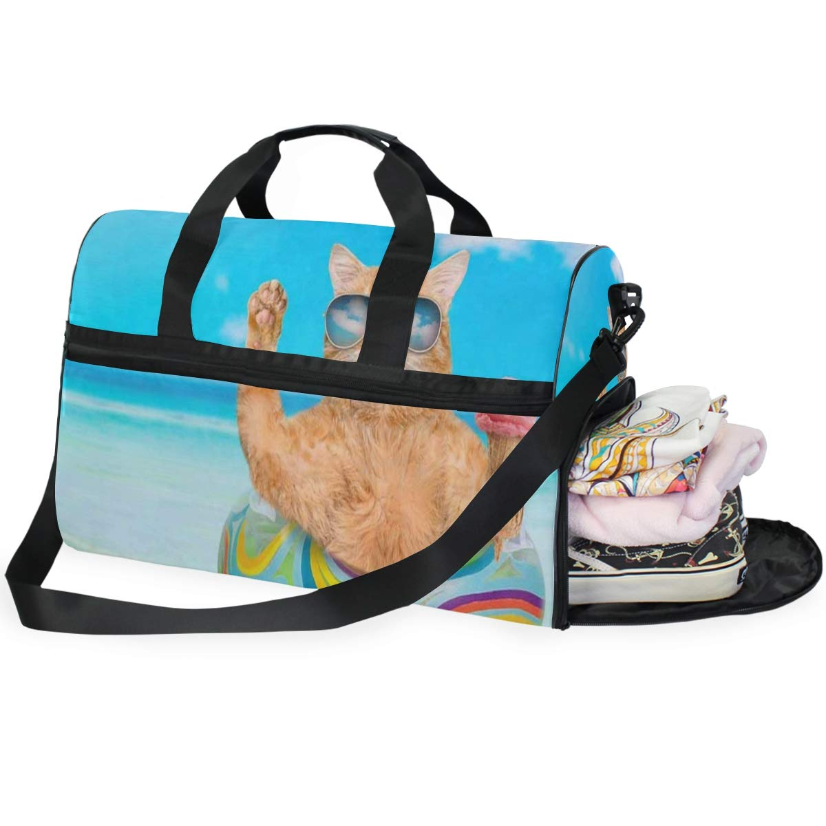 Cats Abstract Large Canvas shoulder bag with Shoe Compartment Travel Tote Luggage Weekender Duffle Bag