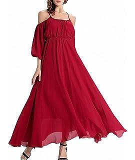 9b96f2cad73eb Afibi Women s Off-Shoulder Long Chiffon Casual Dress Maxi Evening Dress