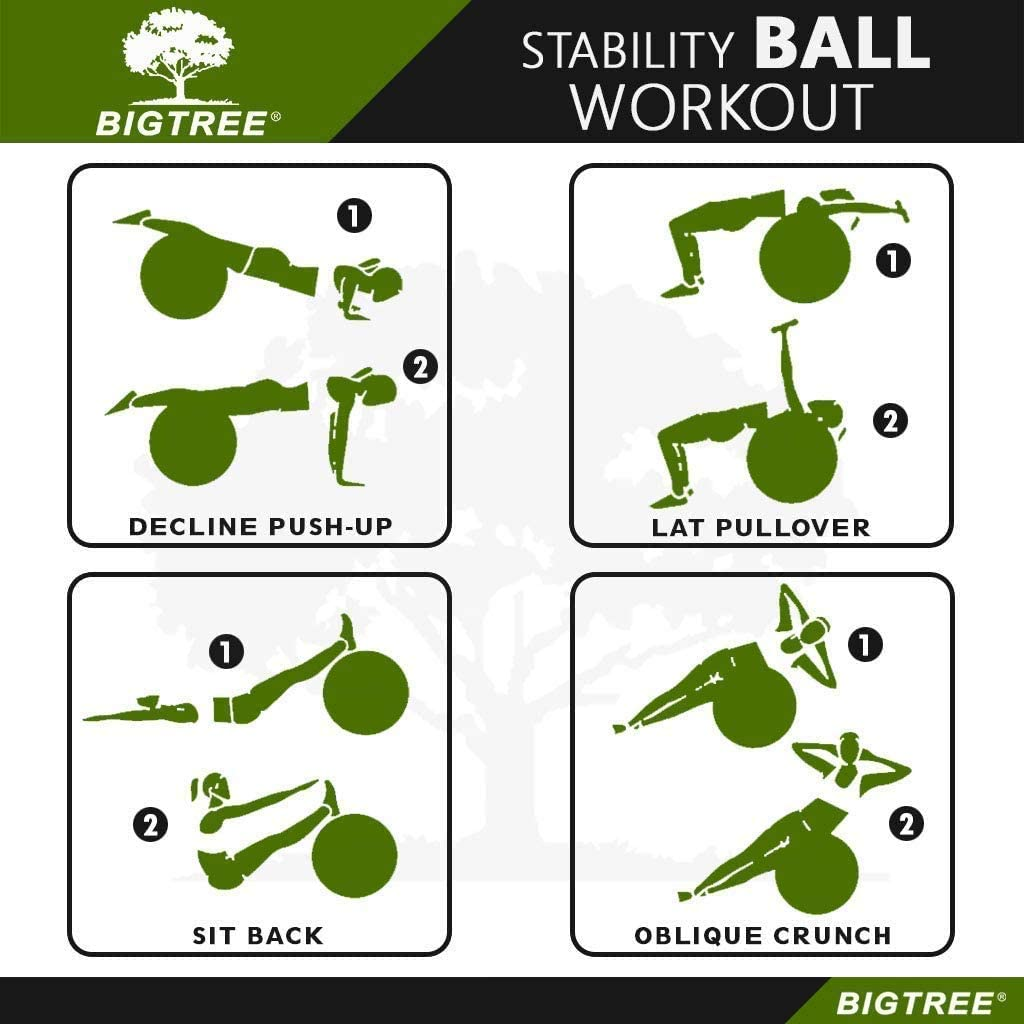 2020 Upgrade Yoga Ball Exercise Fitness Core Stability Balance Strength Anti-Burst Heavy Duty Prenatal Birthing Yogaball for Office Home Gym BIGTREE