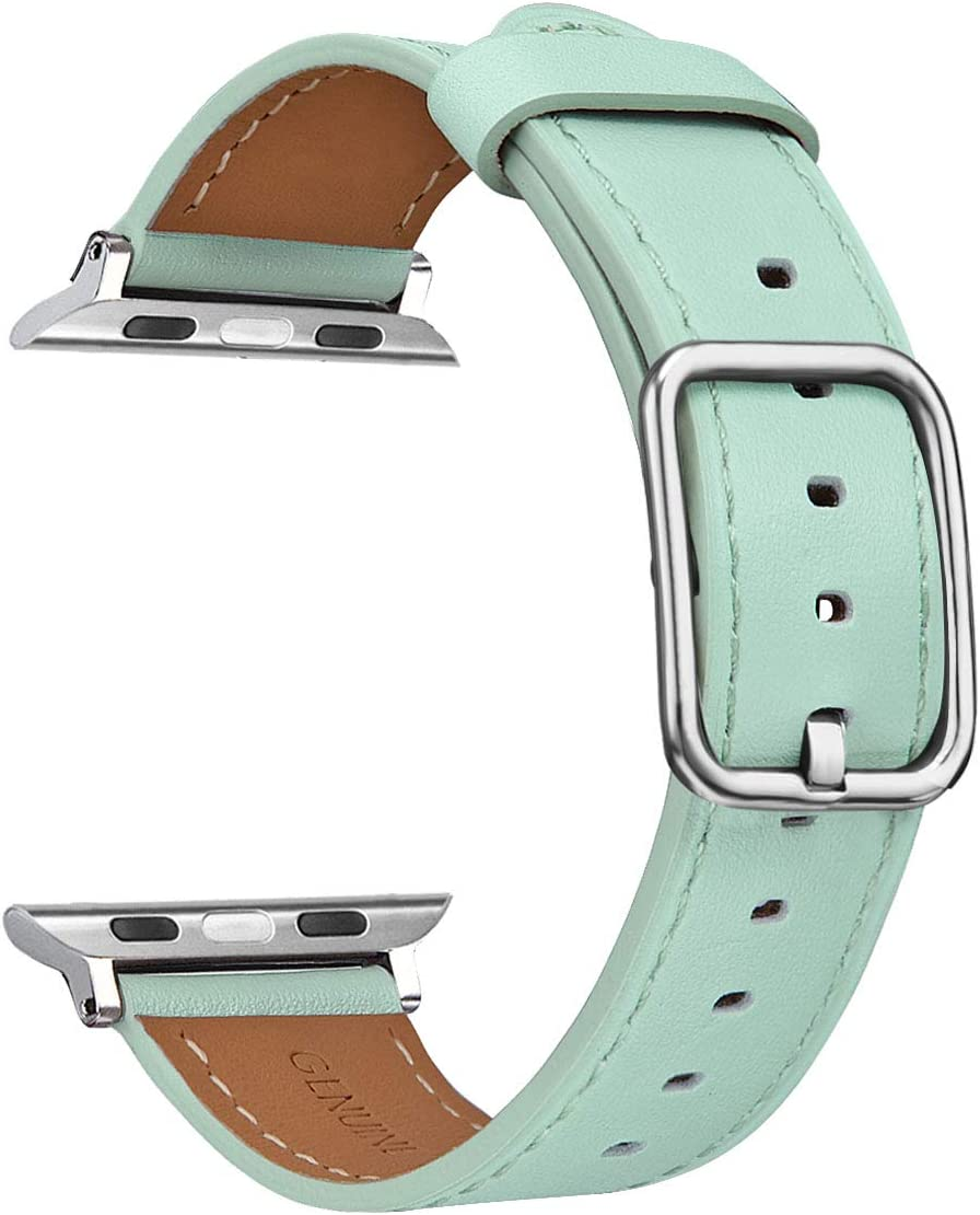 V-MORO Band for Apple Watch Bands 42MM 44MM, Soft Genuine Leather iWatch Band Replacement Bracelet Strap with Special Stainless Steel Buckle for Apple Watch Series 4/3/2/1 Sport 42/44 Mint Green
