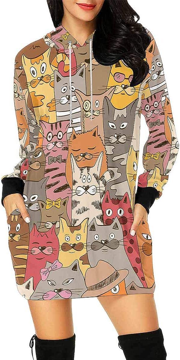 INTERESTPRINT Womens Hooded Dress Funny Cat Drawstring Pullover Long Tops XL