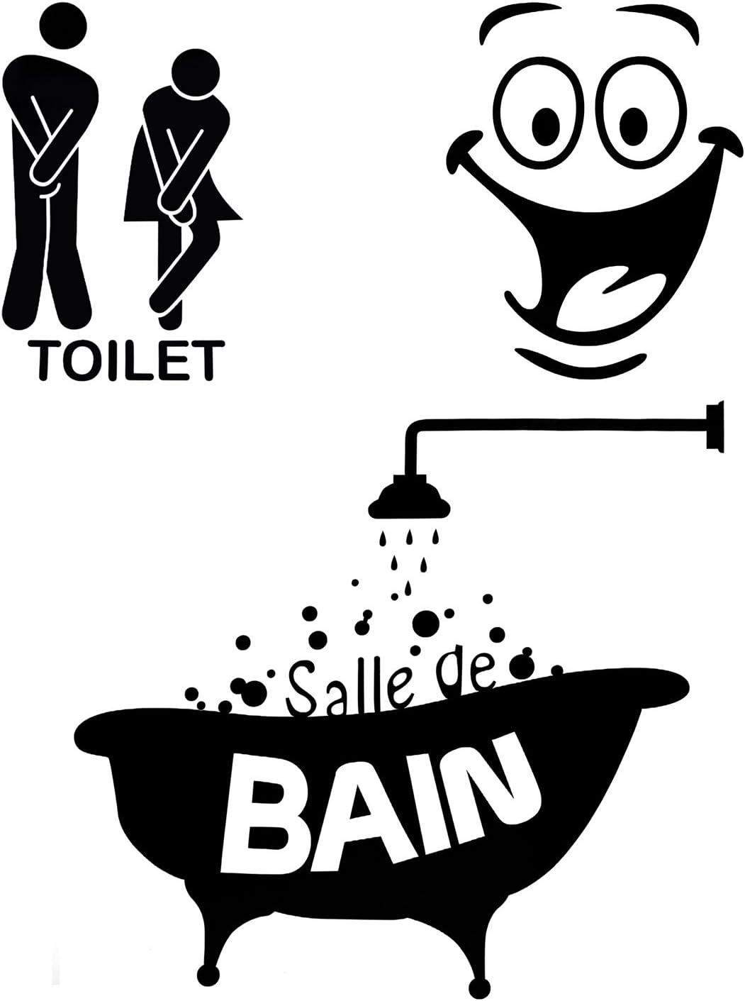 Foonii 3 PCS Autocollant Mural, Toilette/salle de bain/Baignoire Porte