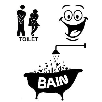 Foonii 3 PCS Autocollant Mural, Toilette/salle De Bain/Baignoire Porte  Autocollant Stickers