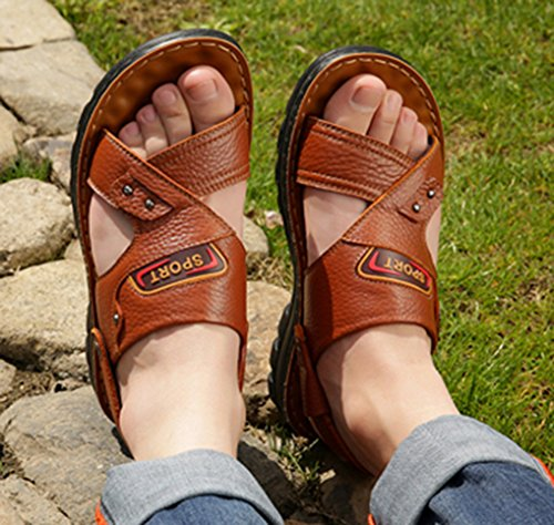 Slip Slippers Men's Boys 2018 Casual femaroly Dad Summer Sandals Sandals Leather and for Brown Aged Yellow Middle Men Beach New Anti xXqU8Ud4