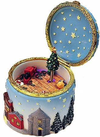 Zunruishop Caja Musical Árbol de Navidad Giratorio de Elk Caja de música de la Personalidad Creativa de la música Regalo de cumpleaños Caja de música Caja Regalo Calcetines Regalo Caja de mú: