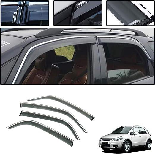 Car Styling Smoke Window Sun Rain Visor Deflector Guard for Suzuki SX4 Hatchback 2006-2019 NOT in Channel rain Guards 4-Piece Set