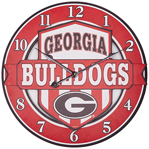 NCAA Georgia Bulldogs Shield Overlay Clock, One Size, (Bulldog Clock)