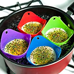 Egg Poacher Cups, 4-piece Silicone Set, Multipurpose - Eco-friendly and Temperature Resistant - 100% Food Safe! 4 Colors