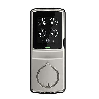 Lockly Bluetooth Keyless Entry Smart Door Lock (PGD728F SN) Patented Keypad Deadbolt Lock   Advanced 3D Fingerprint Reader   iOS and Android Compatible (SatinNickel)