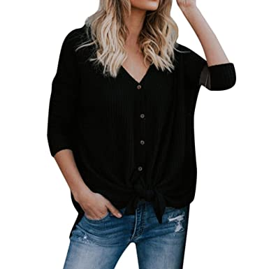 3f44ccdd429 vermers Womens Blouse Womens Loose Knit Tunic Tie Knot Henley Tops Batwing  Plain Shirts(S