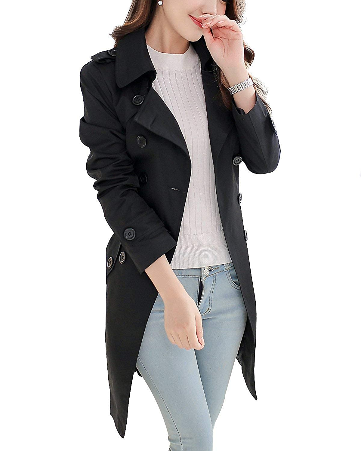 Black Cloudless Women's Double Breasted Trench Coat Chelsea Tailoring Overcoat