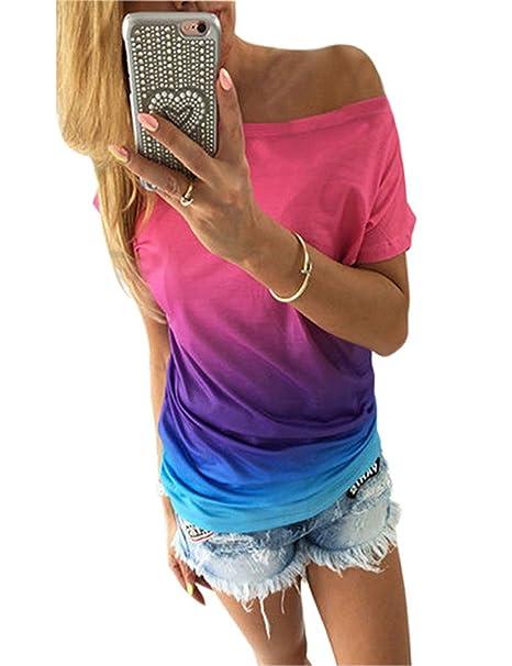 0607438b27eb T Shirt Damen Trägerlos, Sondereu Tops Reizvolle Farbdruck Rundhals Kurzarm  Oberteile Bluse (S,