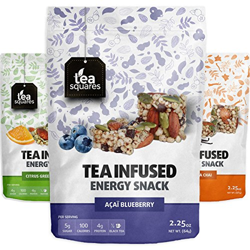 Caffeinated Energy Bites (Variety Pack) - Infused with Tea - Gluten Free - Vegan - Energy Snack - Protein Snack - Protein Bar - Tea Squares