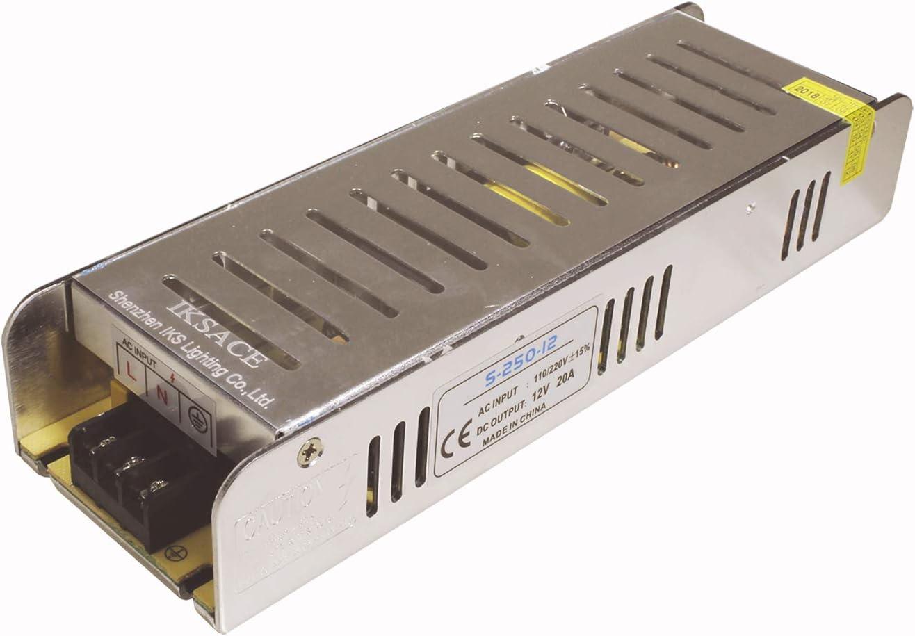 IKSACE 12V LED Netzteil Monitor Treiber Heimgebrauch Adapter Industrietransformator f/ür LED-Streifen Industrielle Stromversorgung Monitor Treiber Adapter Transformator 240W DC12V 20A f/ür LED-Streifen