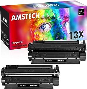 Amstech Compatible Toner Cartridge Replacement for HP Q2613X Q2613A 13A 13X C7115X 15X C7115A 15A Toner for HP Laserjet 3380 1300 1300n 1300xi 1200 1000 Printer Ink (Black, 2-Pack)