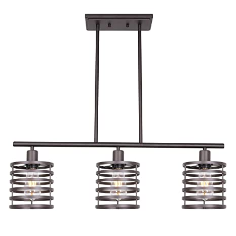 VINLUZ 3 Lights Linear Chandeliers Oil Rubbed Bronze Modern Table Cage Light Rustic Kitchen Island Pendant