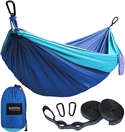 Kootek Camping Hammock Double Single Portable Hammocks with 2 Tree Straps, Lightweight Nylon Parachute Hammocks for Backpacking, Travel, Beach, Backyard, Patio, Hiking