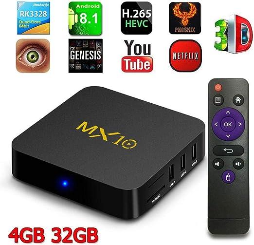 LayOPO Android TV Box 8.1, Cubierta decodificador MX10 con Mando a Distancia, ROM 32 GB con