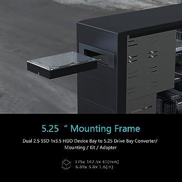 ineo Soporte de Montaje sin Herramientas para Disco Duro SSD de 2 x 2,5 Pulgadas y 1 x 3,5 Pulgadas HDD a Adaptador de bahía de 5,25 Pulgadas [3544]: Amazon.es: Electrónica