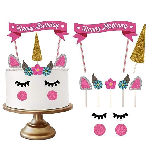 Decoraciones de Unicornio Cake Topper, Hecho a Mano Feliz Cumpleaños Pastel Decoración/Cumpleaños Cake toppers, Linda Unicornio Cuerno, Orejas y ...