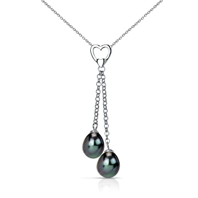 1e8596f569ae Sterling Silver Heart Design with Double-drop 8.5-9mm Black Freshwater  Cultured Pearl Pendant