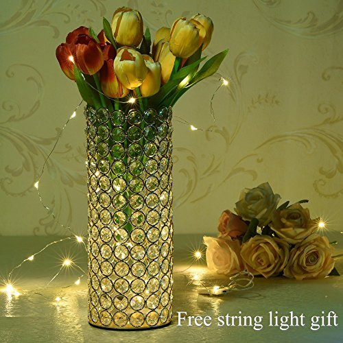 VINCIGANT Gold Decorative Crystal Cylinder Vase for New Year Decor Table Centerpieces Valentines Day Gifts