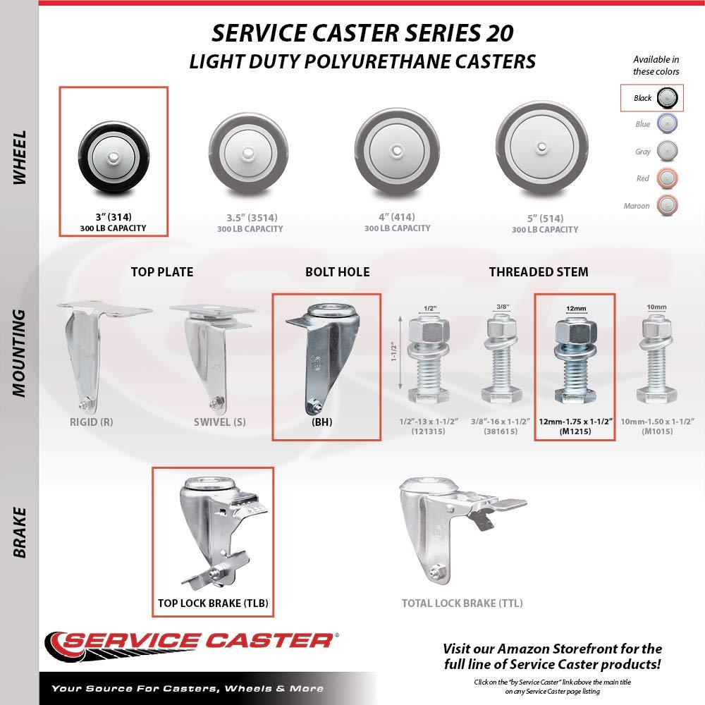 Black Polyurethane Swivel Threaded Stem Caster w//4 x 1.25 Wheel and 12mm Stem Service Caster Brand 300 lbs Capacity//Caster