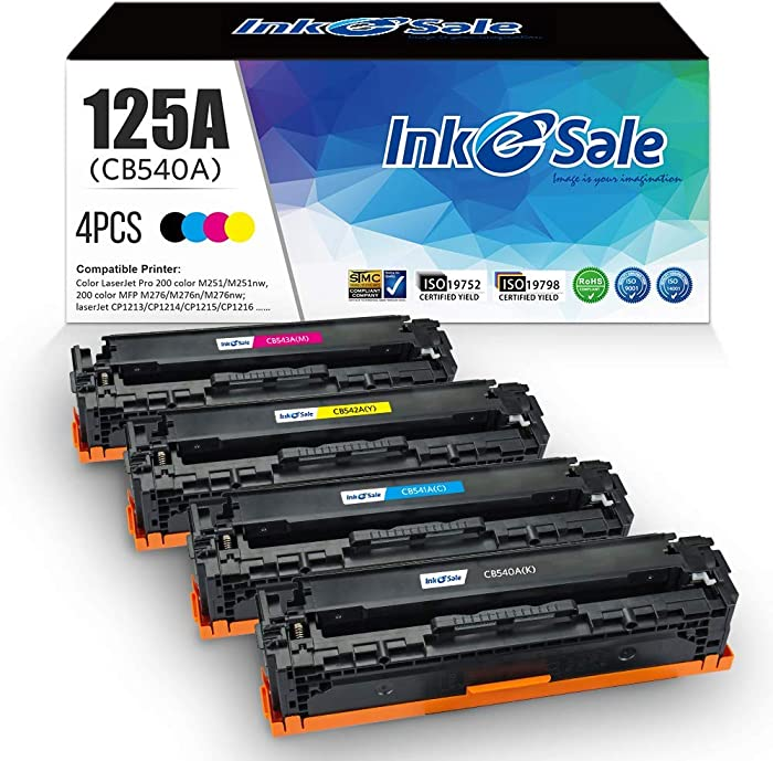 INK E-SALE Remanufactured Toner Cartridge Replacement for HP 125A CB540A CB541A CB542A CB543A for use with HP Color Laserjet CP1215 CP1518ni CP1515n CM1312nfi CM1312 MFP Printer, 4 Pack