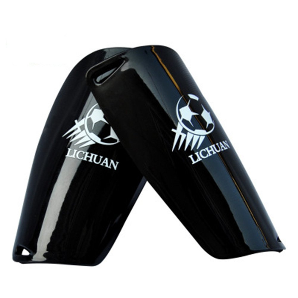 子Football脚ガードプロdouble-deckライトSoft FoamスポーツサッカーShin Guards脚プロテクターパッド B07BDL92D3ブラック