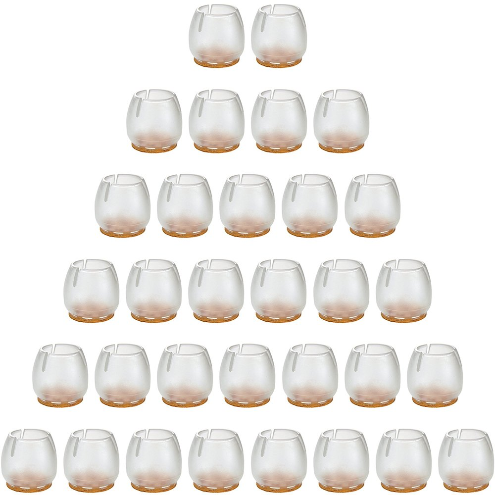 Anwenk Chair Leg Caps Chair Leg Floor Protectors 32 Pack Round Silicone Furniture Chair Leg Tips for 1 to 1-3/16 Inch Chair Legs,Transparent Clear